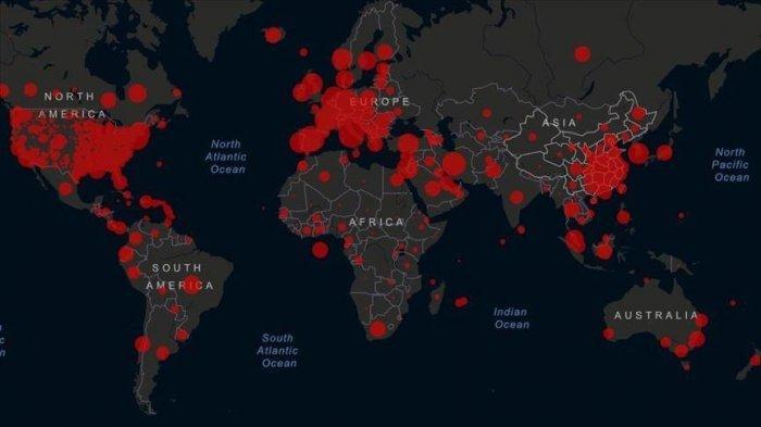ILUSTRASI penyebaran virus corona secara global